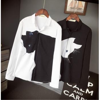 2018 slim Cat long sleeve trendy shirt
