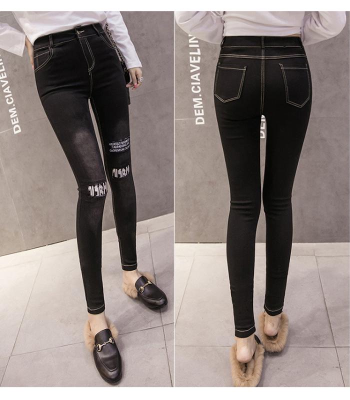 2018 high waist slim letter jeans