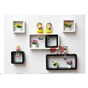Stylish Hanging Wall Shelves Wall Decoration Storage Rack Red or White