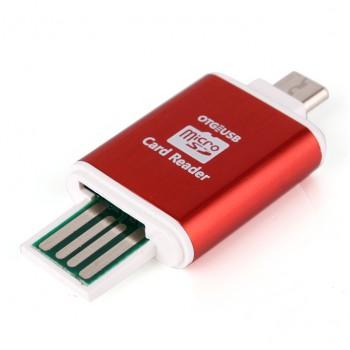 Alloy OTG USB 2.0 Media Cards Reader - Red