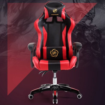 Gaming Chair High Back PU Lumbar Racing  Red Office Seat with  massage function