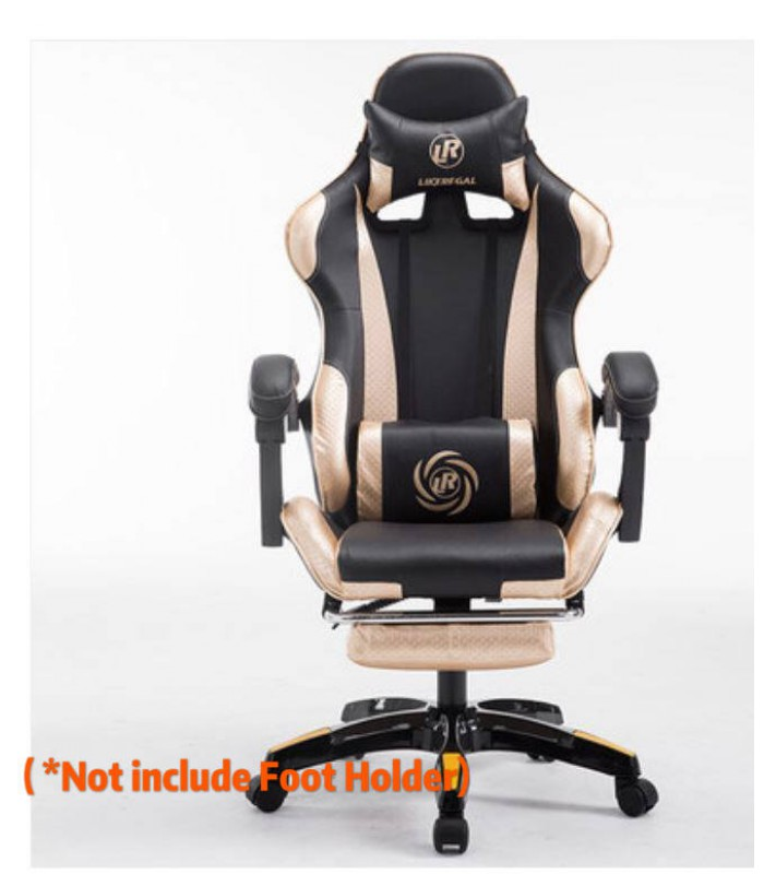 Gaming Chair Black Golden Office Seat with Massage Function