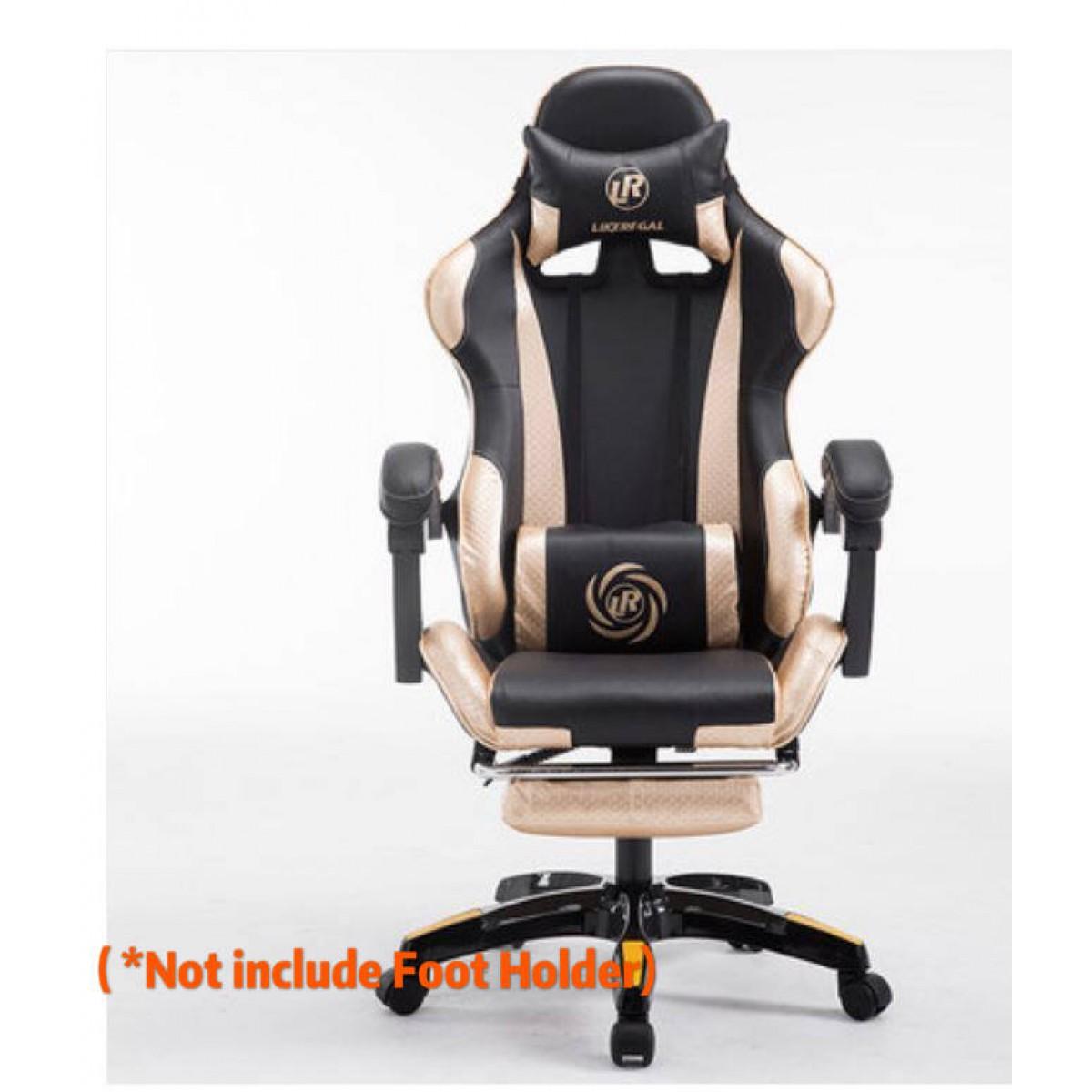 gaming chair high back pu lumbar racing computer black golden office