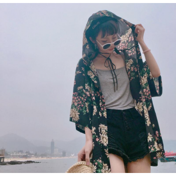 2018 new summer japan style UVA/UVB beach hooded beach coat