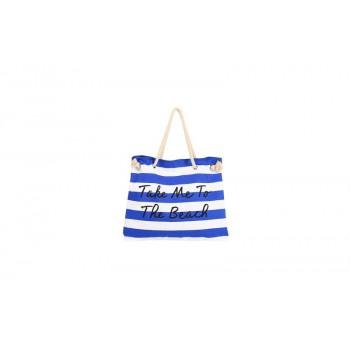 Women Canvas Stripe Handbag Summer Beach Shoulder Bag Blue