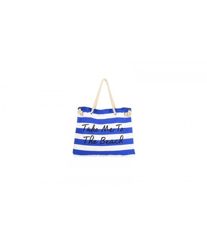 Women Canvas Stripe Handbag Summer Beach Shoulder Bag Blue