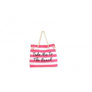 Women Canvas Stripe Handbag Summer Beach Shoulder Bag Pink