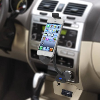 2-in-1 Phone Holder with 2 USB Car Charger
