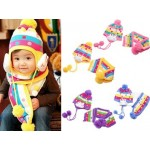 Children Rabbit Knit Beanies with Scarf