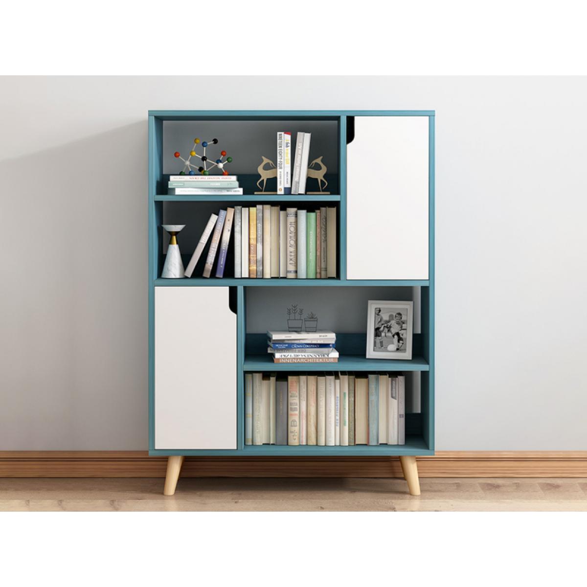 Simplistic Bookshelf Storage Cabinet Blue 80 24 105cm