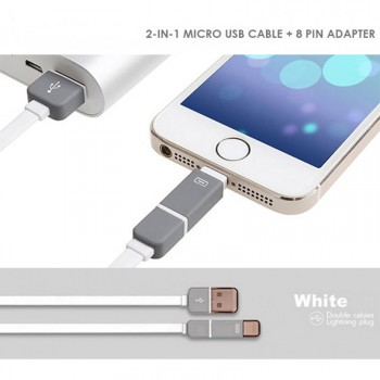 #Special# 2-in-1 Micro USB and 8 Pin Lightning Cable - White or Grey
