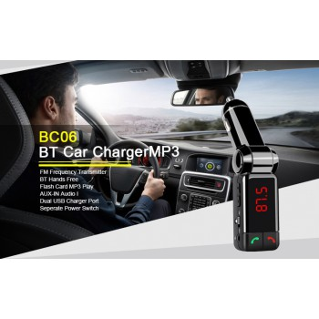 4-in-1 USB Car Charger FM Transmitter Bluetooth