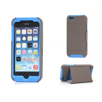 Silicone Card Holder Shockproof Case for iPhone 5G/5S Blue or Pink