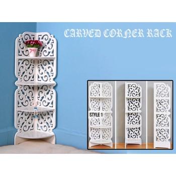 Styish Carved Corner Rack Storage Shelves
