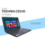 "Pre-owned Toshiba C855-S5355 15"" Intel i3 Dual-Core 8GB 500GB Win8"