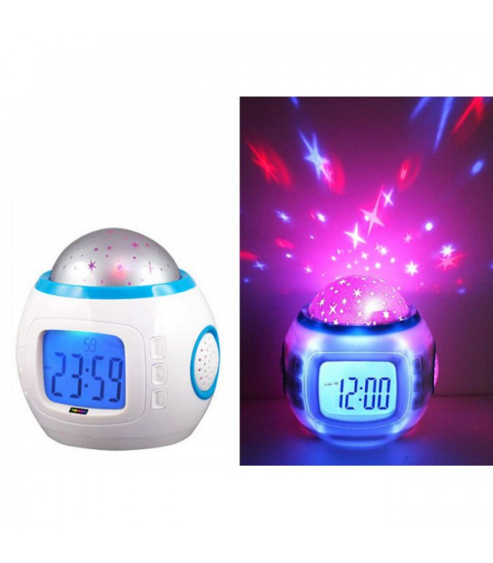 Music Star Light Projection Alarm Clock Including Batteries