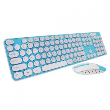 2.4GHz Wireless Keyboard and Optical Mouse-Blue