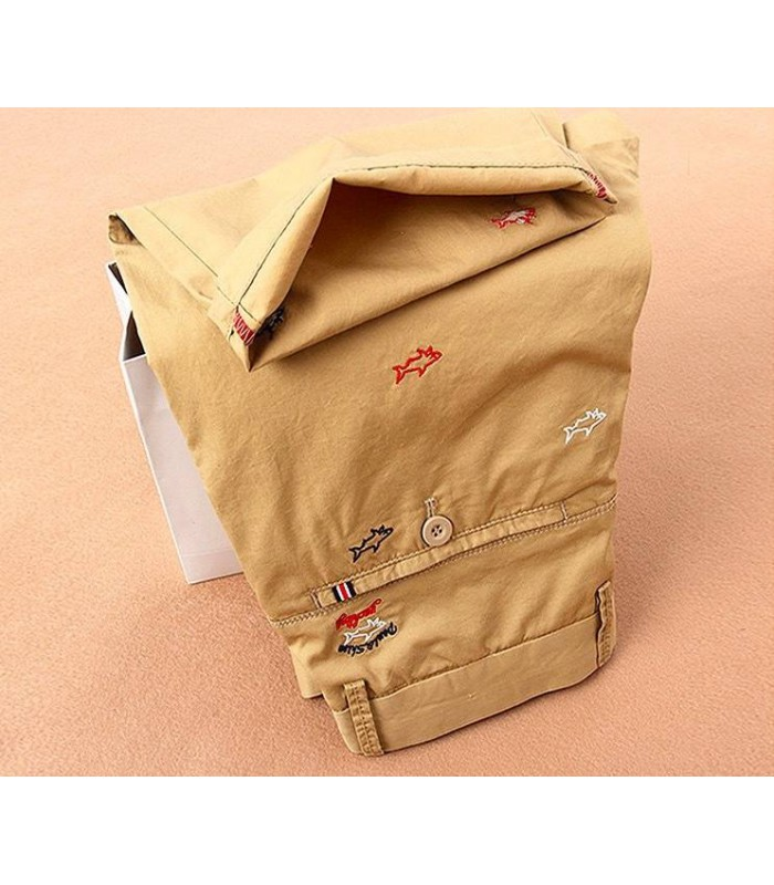 casual embroidery straight short pants