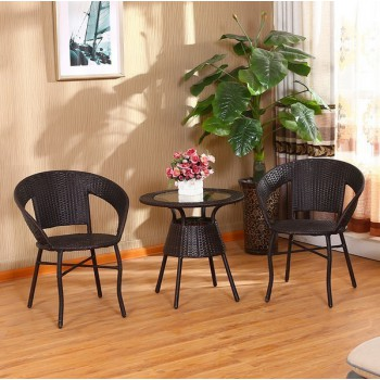 #Special# Outdoor Furniture Rattan One Table and Two Chairs set