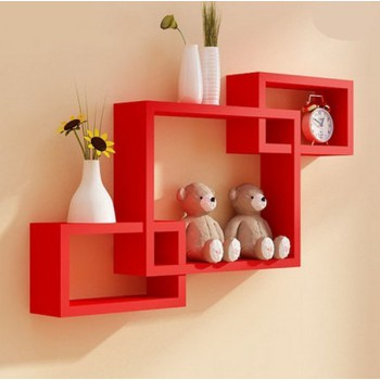 Stylish Hanging Wall Shelves Wall Decoration Storage Rack Red or Black