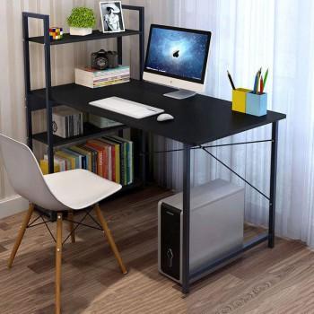 Computer Study Desk with Bookshelf - BLACK
