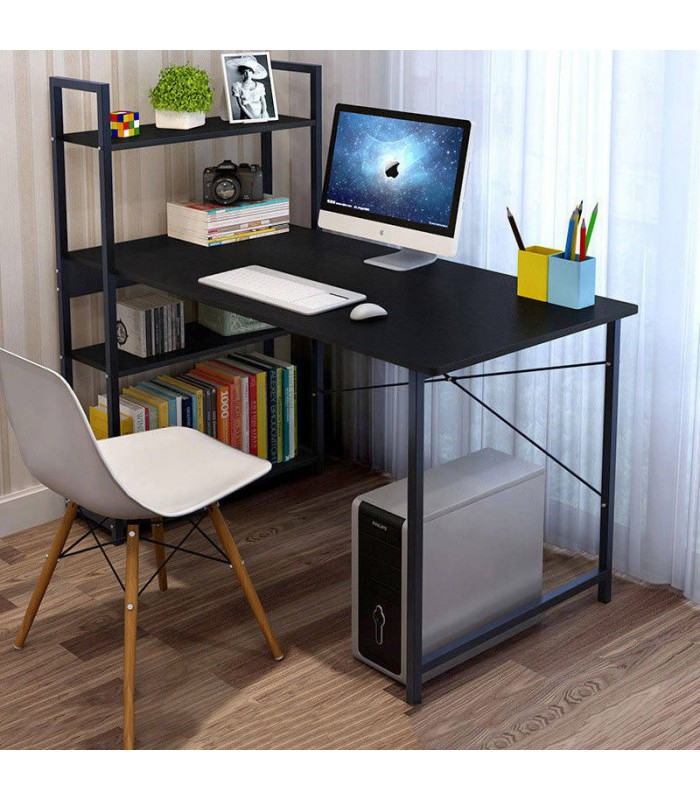 Computer Study Desk with Bookshelf - BLACK