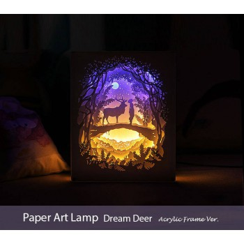 Papercut Light Box (Dream Deer)  Acrylic Frame