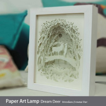 Papercut Light Box (Dream Deer)  Wooden Frame