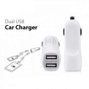 Dual USB Car Charger 1A 2A Output - White
