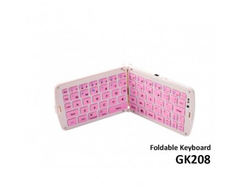 Bluetooth Folding Keyboard GK208- Pink