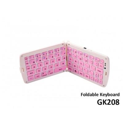 Bluetooth Folding Keyboard GK208- Pink