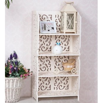Styish Carved Storage Shelves 4 Tier Shelf Rack