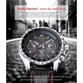 MEGIR hot fashion man's quartz wristwatch brand waterproof leather watches BLK