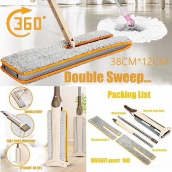 Hands-Free Washable Cleaning Mop Lazy version Useful Double-Side Flat Tool