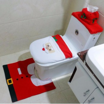 Christmas Santa Toilet Set - Seat Cover, Tank Cover and Mat
