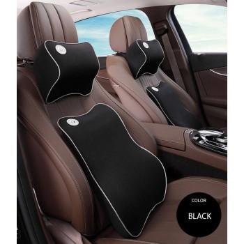 Lumbar Back Support  Waist Cushion and Headrest Pillow Car Seat - BLACK