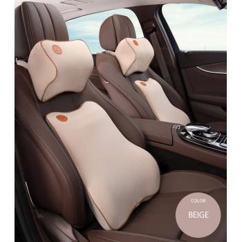 Lumbar Back Support  Waist Cushion and Headrest Pillow Car Seat - BEIGE