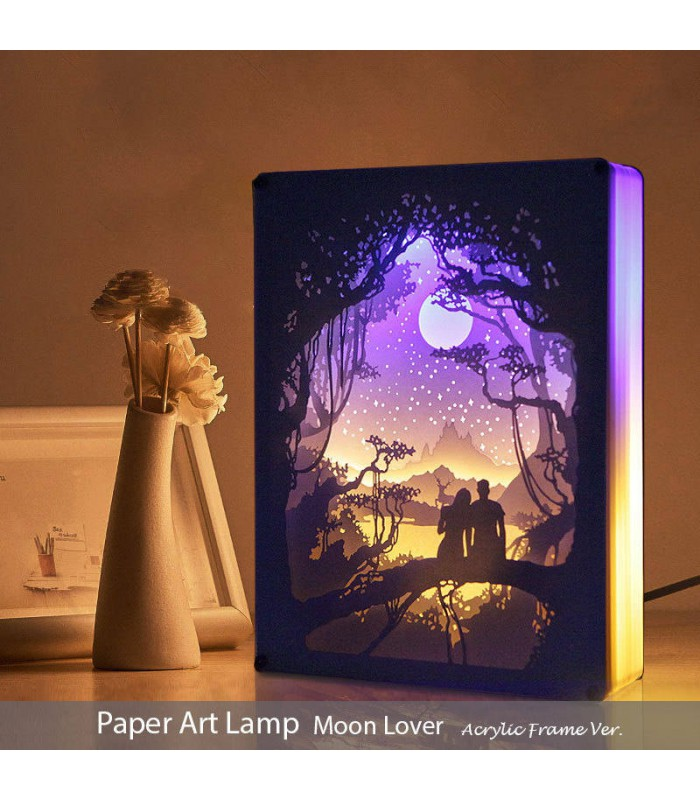 Papercut Light Box (Moon Lover)  Acrylic Frame