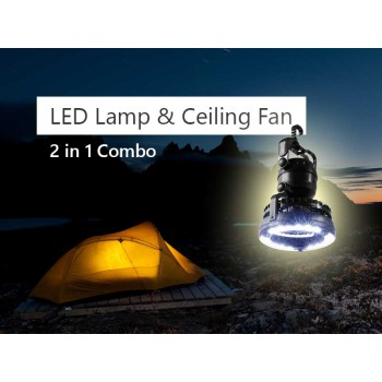2-in-1 Outdoor Hanging LED Camping Tent Light Lamp and Ceiling Fan Combo - Black