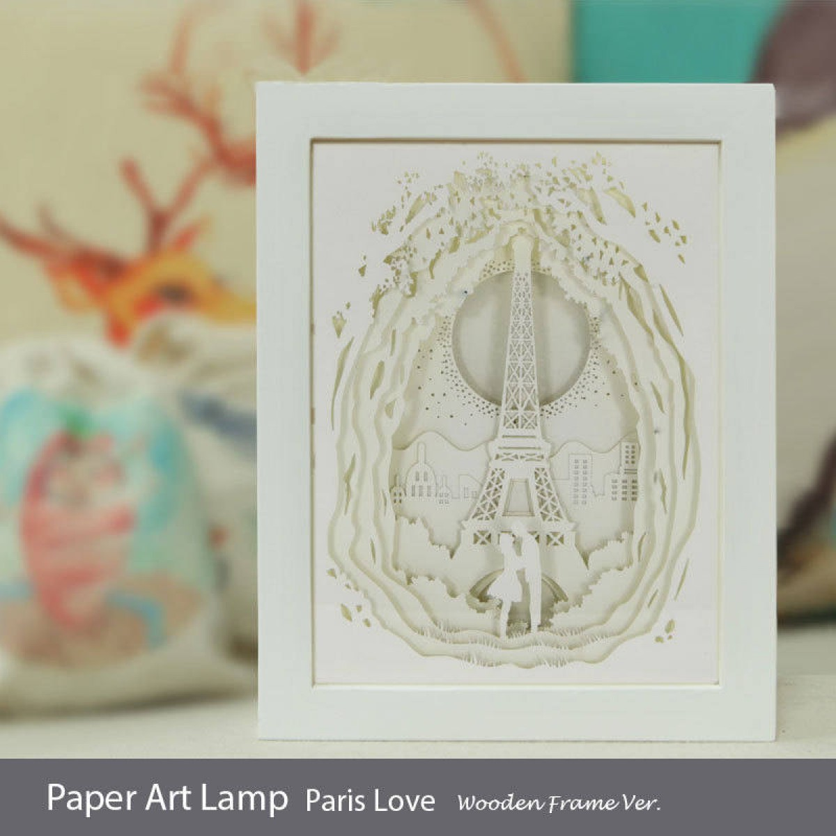 Papercut Light Box Paris Love Wooden Frame