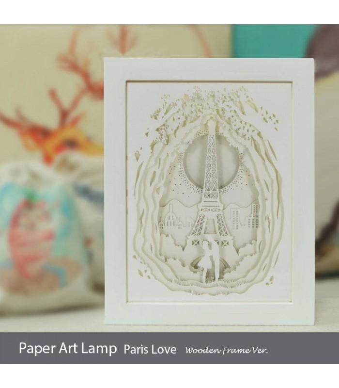 Papercut Light Box (Paris Love)  Wooden Frame