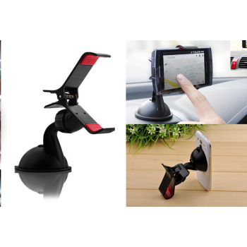 Clip Phone Holder with Suction Cup for Windscreen 360 Degree Rotation
