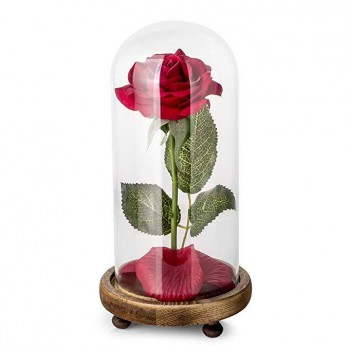 LED light silk rose with fallen petals
