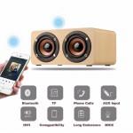 Mini Portable Wooden Bluetooth HIFI Wireless Speaker 3D Dual Loudspeakers