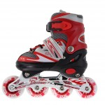 Line Skating Shoes Red Small (28-33) + Protector Gear (Free Gift)
