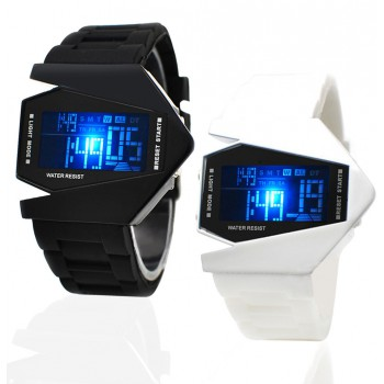 Water Resistant Airplane Digital Watch - Black or White