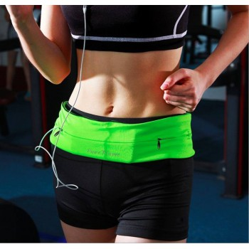 Waist Bag Belt Running Yoga Pockets Multi-functional Anti-theft Invisible Green