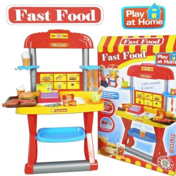 FAST FOOD RESTAURANT KITCHEN TOY PLAY SET more than 15 accessories!!