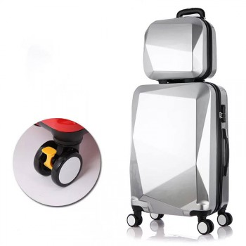 24inch+14inch 2 Pieces Luggage Travel Set Bag ABS Trolley Suitcase Silver 2 set