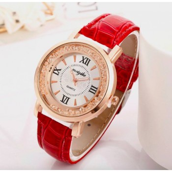 Quartz Watch Diamond Flowing Crystal Ladies RED Leather Strap Dress Watches
